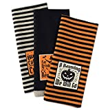 DII Cotton Halloween Holiday Dish Towels, 18x28'' Set of 3, Decorative Oversized Embellished Kitchen Towels, Perfect Home and Kitchen Gift-Happy Haunting