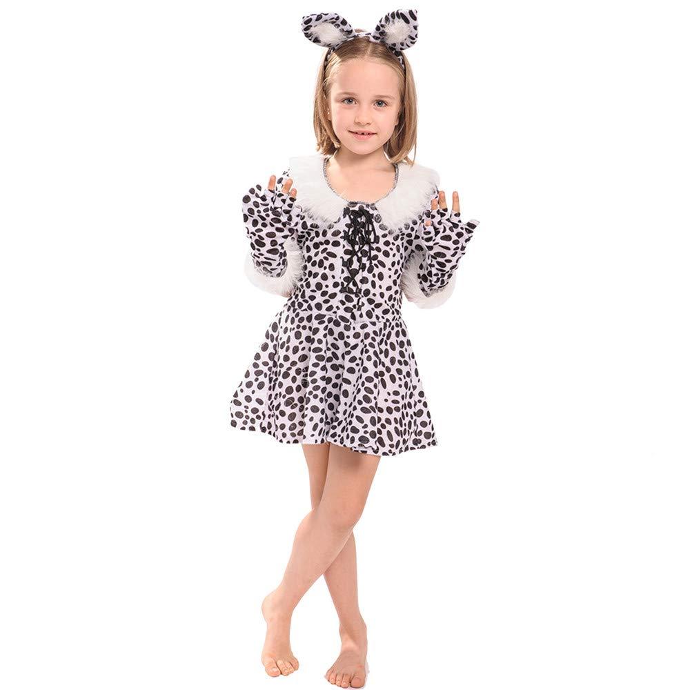 ハロウィンガールズ ホワイトレオパードコスチューム 可愛いお祭りドレス クリスマス フルセット コスプレコスチューム X-Large(US10-12)  B07GQW59D7