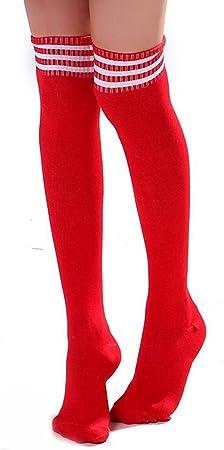 HugeStore Damen Frauen Lange Streifen Socken Overknee
