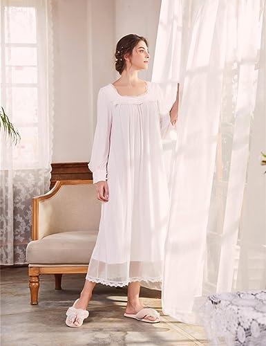 AIKOSHA Womens Victorian Style Full Length Long Sleeve Square Neck Cotton  Nightdress - White - X-Large  Amazon.co.uk  Clothing 95541d4a4
