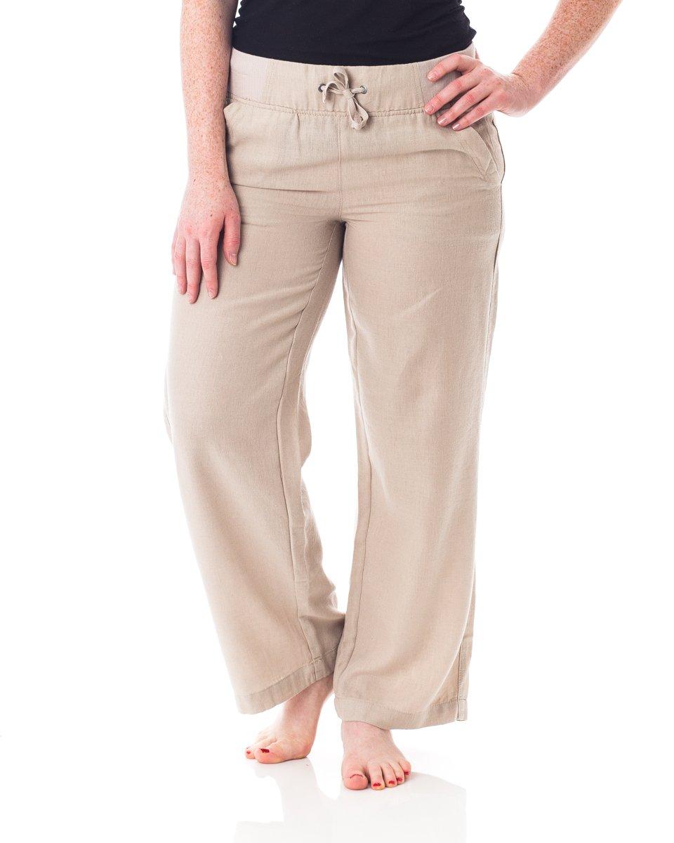 Alki'i Petite Women's Casual Linen Pants with Comfort Waist 1190 Sandstone M