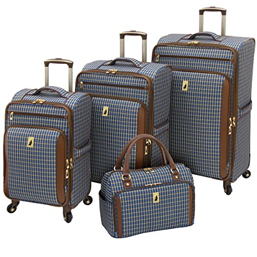 Plaid Luggage Sets (London Fog Kensington 4 Piece Set, Blue Tan Plaid)