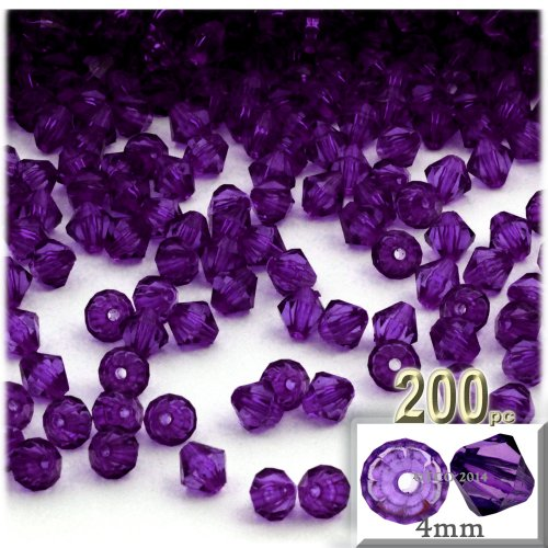 (The Crafts Outlet, 200-pc Acrylic Bicone Beads, Faceted, 4mm, Purple)