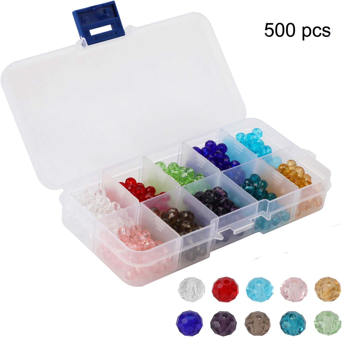 (500 unids) OOTSR 6mm Abalorios de cristal, 10 colores Briolette Cuentas facetadas para la pulsera del collar de la joyería que hace el arte de DIY con la caja del envase