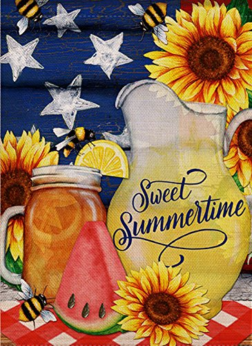Dyrenson Watermelon Bees Garden Flag Double Sided Sweet Summer, Flower House Yard Flag, Sunflower Star Garden Yard Decorations, Home Decorative Mason Jar Floral Seasonal Outdoor Flag 12 x 18