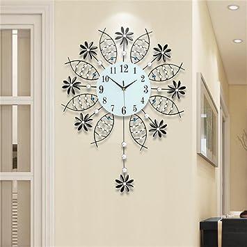 TOYM-reloj moderno salón reloj reloj de pared minimalista creativo pivotar muda pared del arte del reloj de cuarzo reloj de pared de la habitación grande de ...