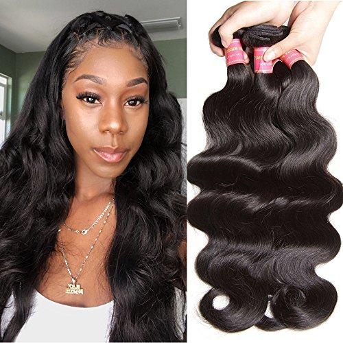 Jolia Hair Unprocessed Brazilian Virgin Body Wave Hair Weaves 3pcs lot, 100% Virgin Brazilian Human Hair Weft Extensions, Full Head, 100g/pcs, Natural Black Color (16 18 ()