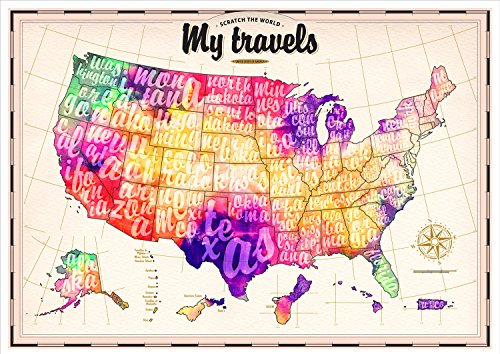 Scratch Off USA Map Watercolor Theme US Territories Included In - Watercolor us map