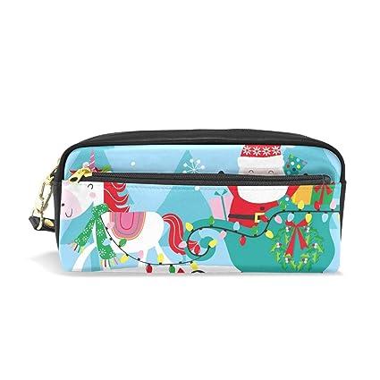 Bonipe - Estuche de unicornio navideño con Papá Noel para lápices, estuche, bolso, escuela, artículos de papelería, viajes, cosméticos, maquillaje: Amazon.es: Oficina y papelería
