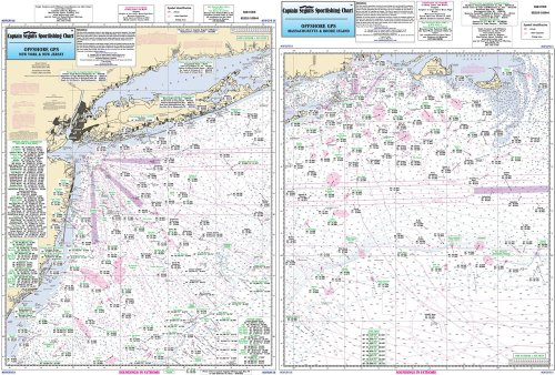 Offshore MA, RI, CT, NY, NJ - Laminated Nautical Navigation & Fishing Chart by Captain Segull