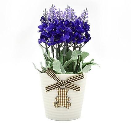 Aoligei Mini-Lavendel Pflanze Simulation gefälschte Blumen Innendekoration Topfpflanzen jeder Satz von zwei Töpfen 17*6cm