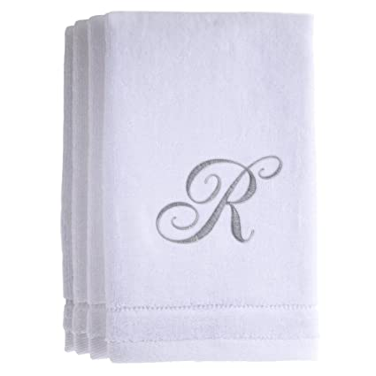 Monogrammed Towels Fingertip, Personalized Gift, 11 X 18 Inches   Set Of 4