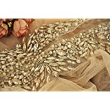 ONE YARD Rhinestone Trim Crystal Beaded Applique for Bridal Wedding Gown Bridal Sash