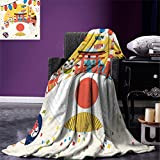 smallbeefly Lantern Weave Pattern Extra Long Blanket Japanese Inspired Commercial Pattern Various Asian Culture Items Cool Cat Origami Custom Design Cozy Flannel Blanket Multicolor