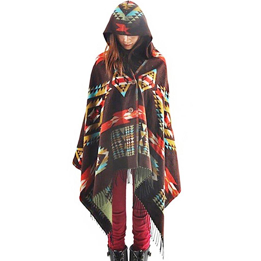 Zicac Capa con capucha con patrón geométrico con borlas, bufandas de cachemira que se puede cerrar y amarrar.