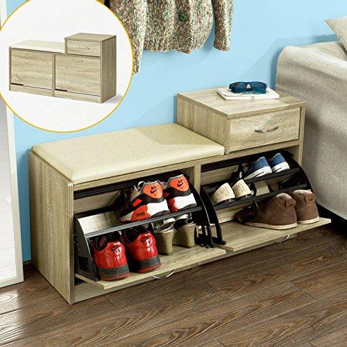 SoBuy®Schuhbank,Sitzbank,Schuhregal, Schuhschrank, Schuhtruhe,mit zwei Schuhfächern und einer Schublade, FSR17-N