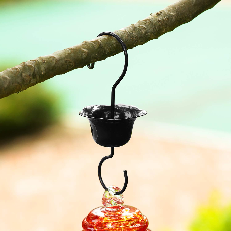 36 Fluid Ounces More Biger Garden Backyard Decorative Containing Ant Moat Hand Blown Glass Hummingbird Feeder Dont Fade LUJII Hummingbird Feeder 5 Feeding Metal Stations Blue