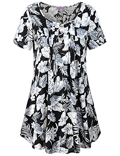 Misswor Flowy Tops for Women, Ladies Short Sleeve Black Striped Shirt Round Neck Split Collar Sleek Blouse Classy Beautiful Drapes Basic Cool Summer Floral Black XXL Striped Split Neck Top