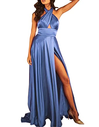 Womens Halter Long Prom Dress Sexy Satin Plus Evening Gown With High Slit 2018 Baby Blue