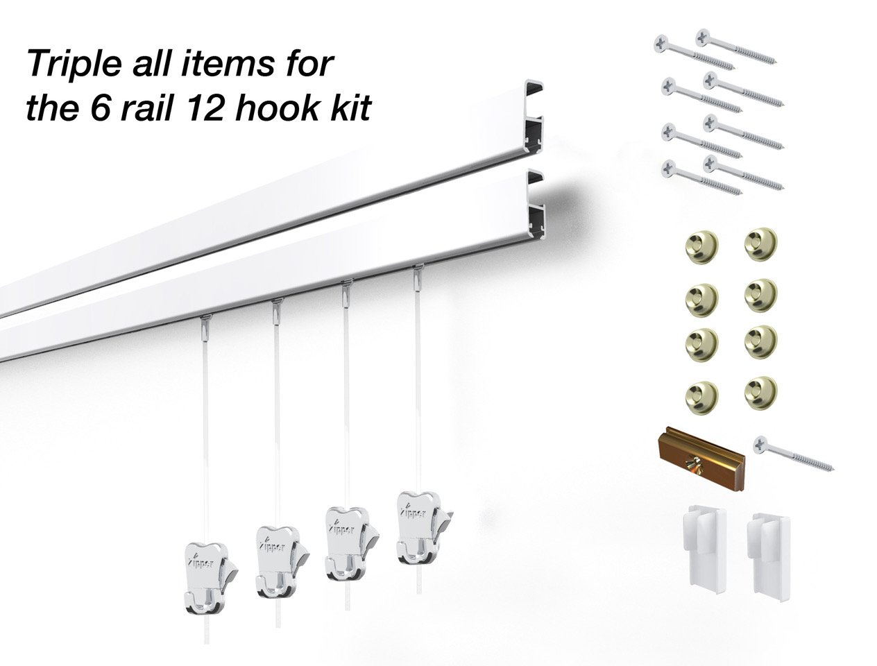 12 Hanging Components STAS Cliprail Pro Picture Hanging System Kit- Heavy Duty Track and Art Hanging Gallery Kit for Home, Office or Public Space (6 rails 12 hooks and cords, white rails)
