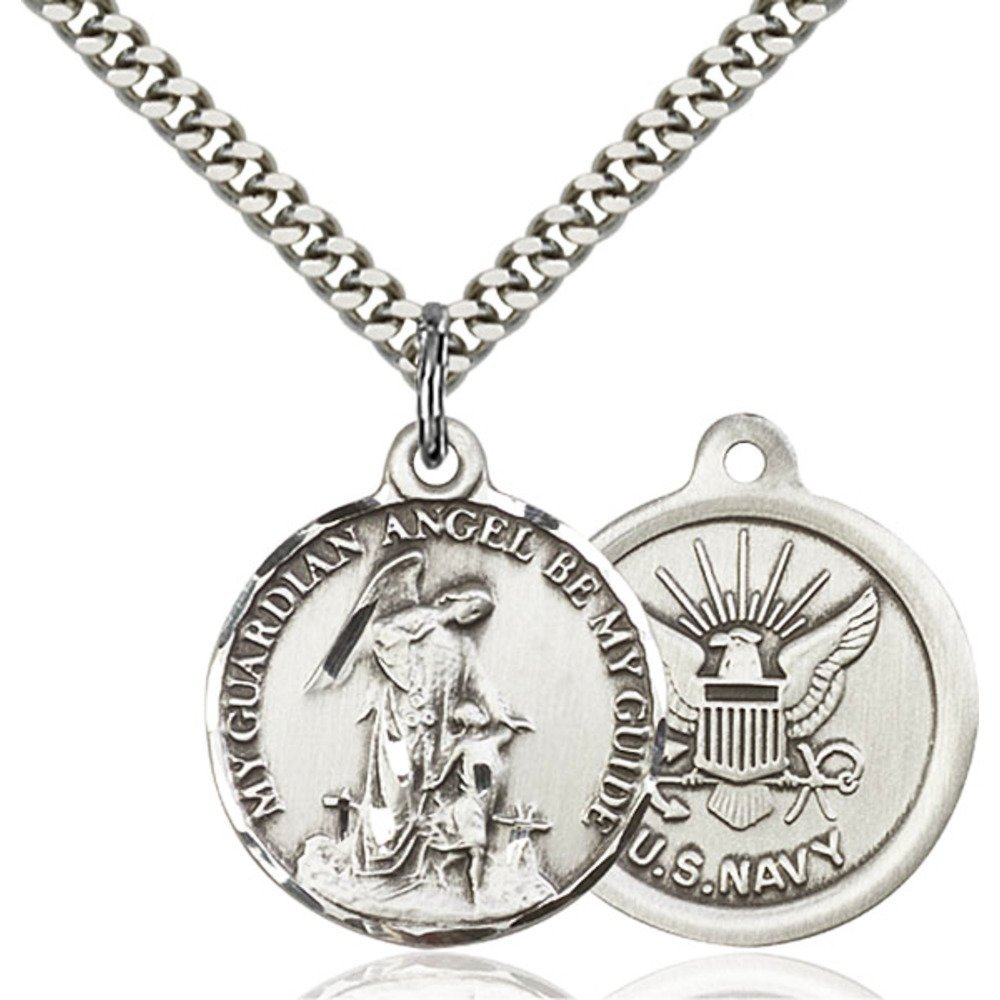 Sterling Silver Men's GUARDAIN ANGEL / NAVY Pendant - Includes 24 Inch Heavy Curb Chain - Deluxe Gift Box Included Bliss Manufacturing 0341SS6/24S
