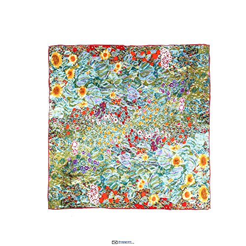 - Silk Scarfs Women Square Silk Scarf for Hair, 100% Pure Silk Head Scarf for Women Hand Rolling Edge 35''x35'' (Gustav Klimt's Farm Garden With Sunflowers)