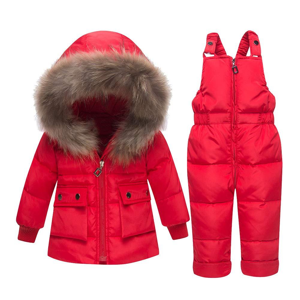 LPATTERN Doudoune Parka à Capuche Rembourré Combinaison de Neige Ski Bébés Filles Garçons Manteau de Duvet Hiver avec Salopette Coupe-Vent Épais 2PCS 0-3 Ans Q79675