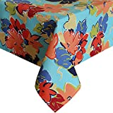 Eforcurtain Bright Leaves Print Tablecloth Waterproof Fabric Table Cover for Picnic, 60-inch By 120-inch, Multicolor