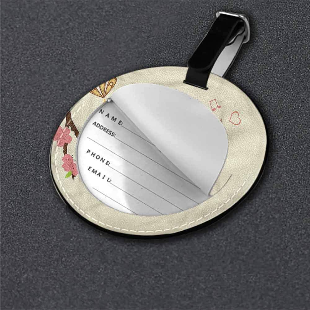 Cute Luggage Tag Bird,Blooming Branch Music Notes Round Leather Luggage