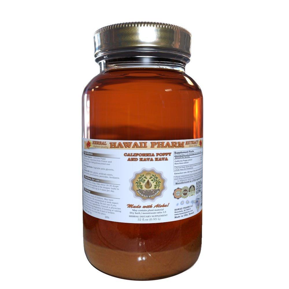 California Poppy (Eschscholzia Californica) and Kava Kava (Piper Methysticum) Liquid Extract 32 oz...