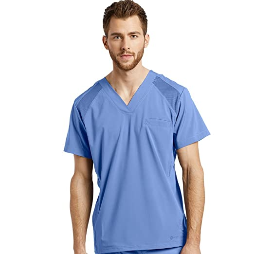 610a4275a1e Image Unavailable. Image not available for. Color: Fit by White Cross Men's  V-Neck Solid Scrub Top Xx-Large Ceil Blue
