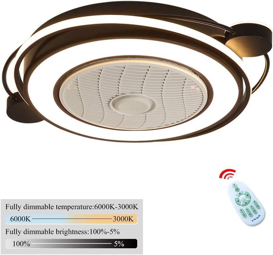 Los Ventiladores De Techo Con Iluminación, LED De La Lámpara Del Techo Del Ventilador Invisible, Temperatura Regulable De Tres Colores Con Mando A Distancia Ultra Silencioso Dormitorio Sala