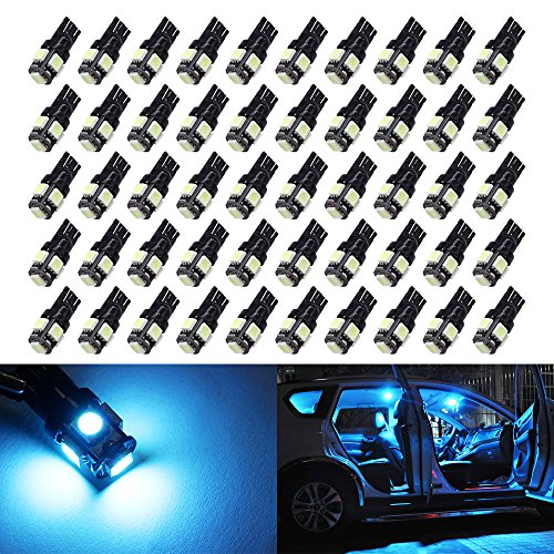 (50X T10 Ice Blue LED bulbs Wedge 5-SMD 5050 Chipsets W5W 2825 158 192 168 194 led bulb for Interior Reading Dome Map Trunk Door Doorstep Courtesy Instrument Panel License Plate Side marker Lights.)