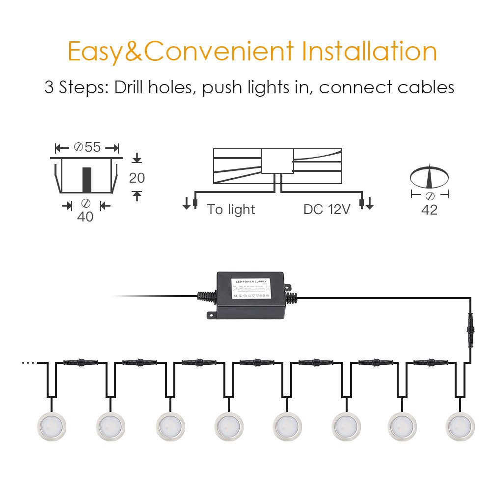 Recessed Led Deck Lighting Kits Warm White 15w Low Voltage 42 What Happens When A Circuit Is On The Complete Lights Stainless Steel Waterproof In Ground For Steps Stair Patio Floor Pool Kitchen