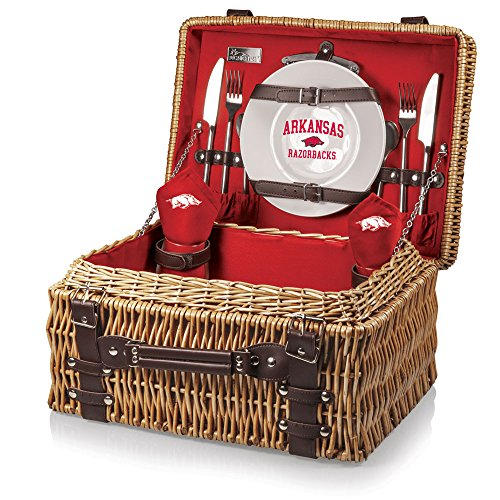 PICNIC TIME NCAA Arkansas Razorbacks Champion Picnic Basket with Deluxe Service for Two, Red, NA