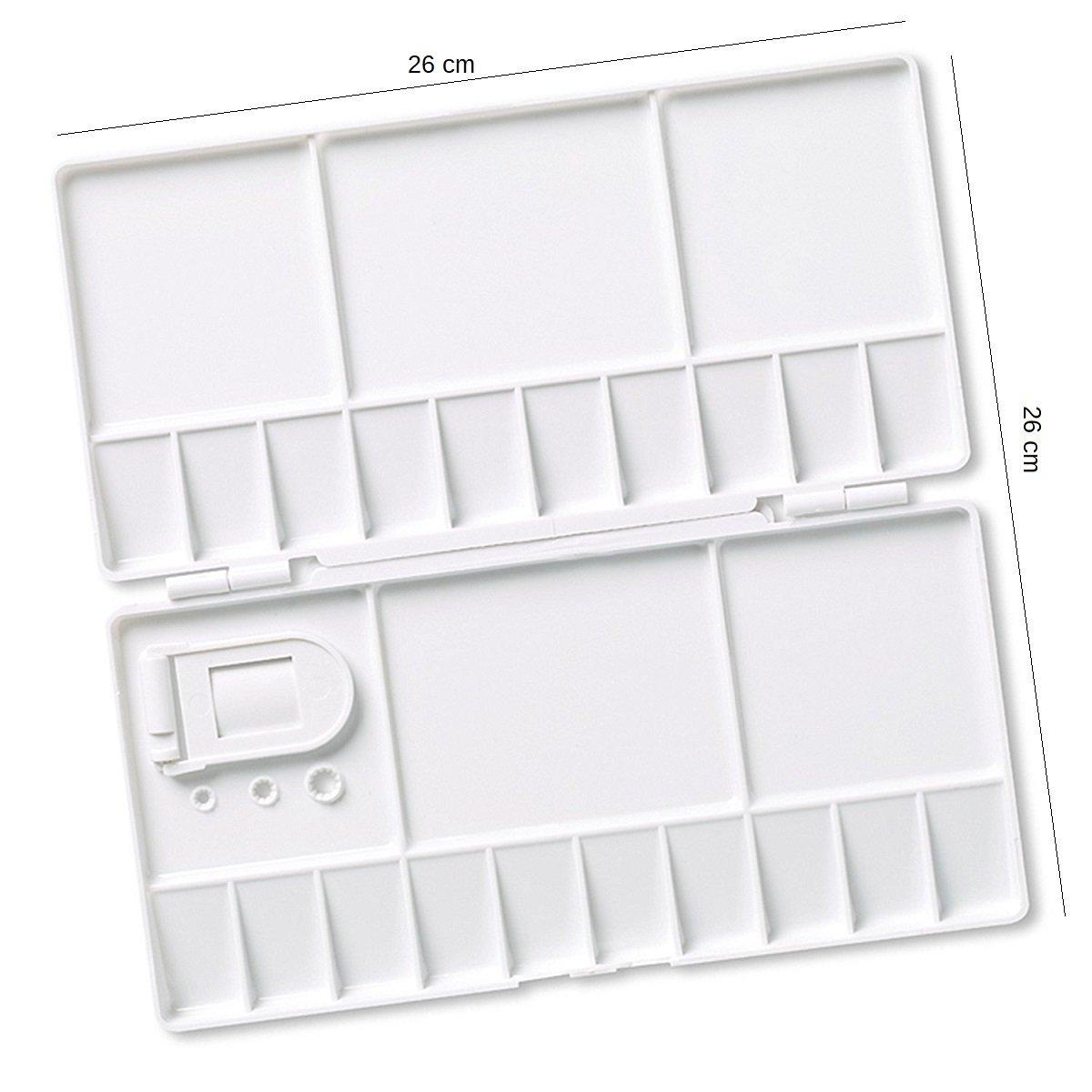 Watercolor Palette Folding palette Large Paint Tray Plastic Painting Pallete with 25 Mixed Fields 26 cm x 2 cm x 13 cm