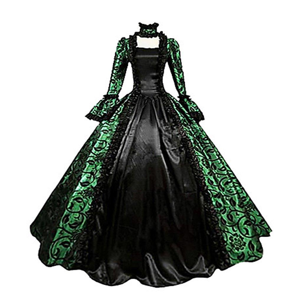 1791's lady Women's Victorian Rococo Dress Inspiration Maiden Costume NQ0032 (S:Height63-65'' Chest34-35'' Waist26-27'', Green&Black)