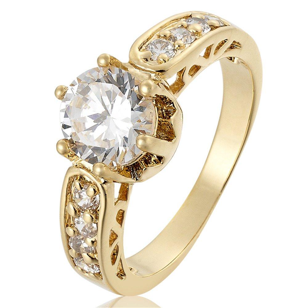 Rizilia Mujer Joyería Claro Anillo de Oro Piedra plateado compromiso Topaz blanco tamaño 7 O RB1141WHT7