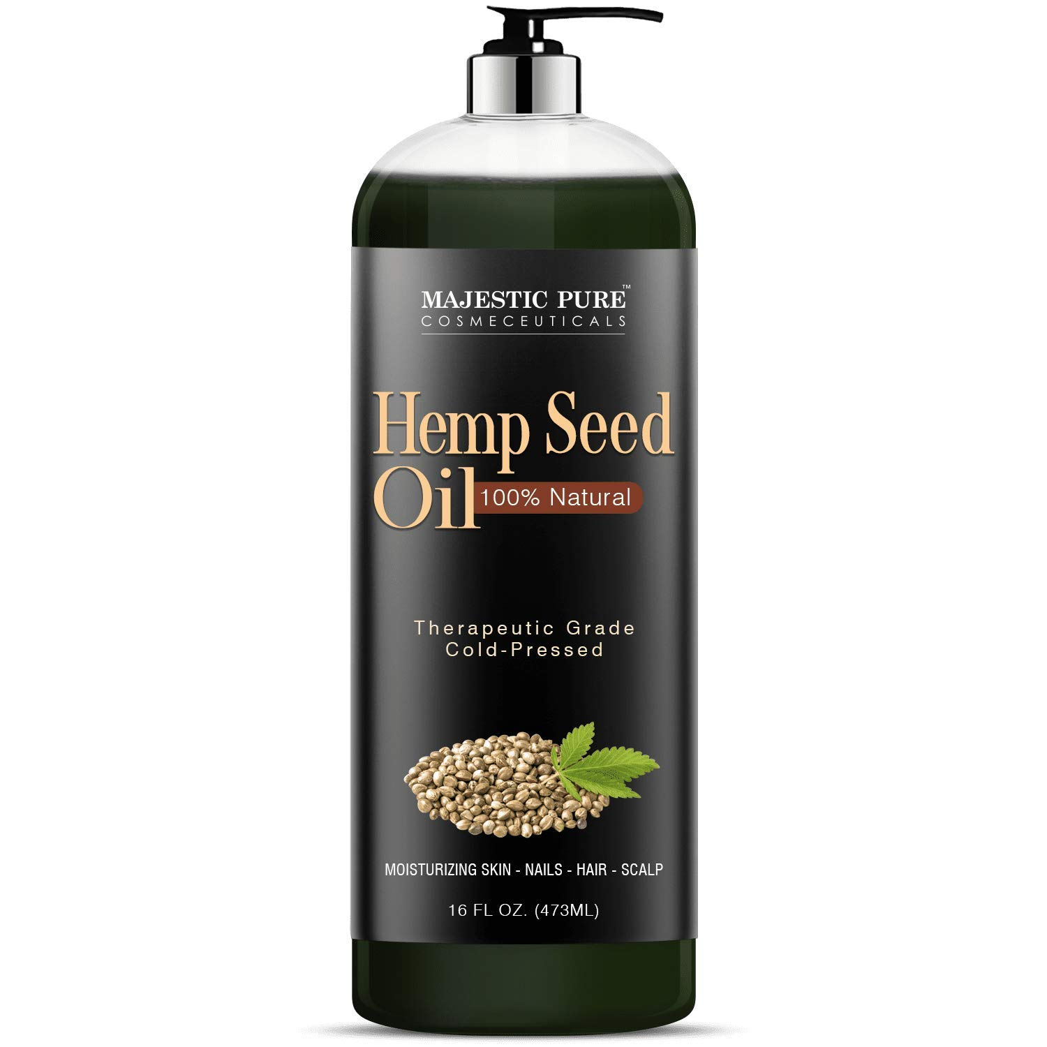 Majestic Pure Hemp Seed Oil, 100% Pure and Natural, Cold-Pressed, Moisturizing, for Skin Care, Massage, Hair Care, and to Dilute Essential Oils, 16 fl oz