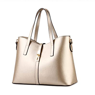 e33903805a0f7 Fashion road Womens Pu Leather Handbag Lady's Line Tote Bags Golden:  Handbags: Amazon.com