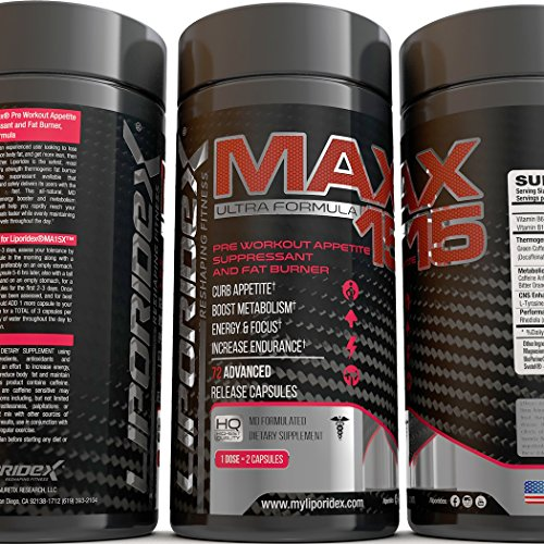 Liporidex MAX15 Thermogenic Fat Burner - Boost Metabolism & Feel Great - Appetite Suppressant Weight Loss Supplement - The easy way to lose weight fast! - 72 diet pills - 1 Box
