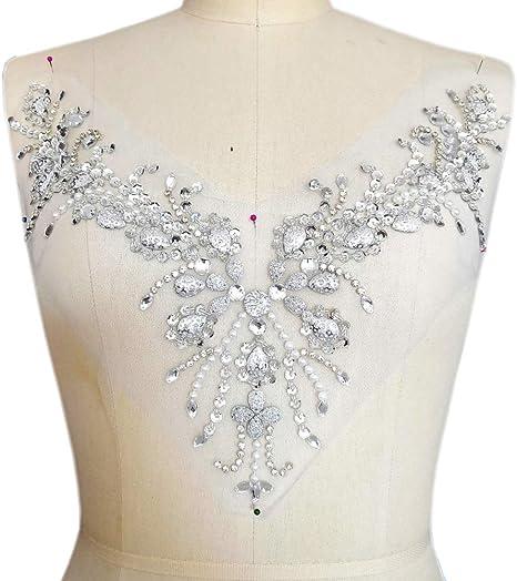 Sew on Iron On Beaded Rhinestone Silver AB Applique Trim Bridal Dress Crafts