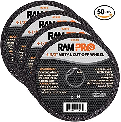 Ram-Pro 4-1/2 Inch Metal Cut-Off Wheel Blades | Abrasive Arbor Grinder Disc Set Ideal for Cutting, Grooving, Sanding and Trimming Ferrous Metal & ...