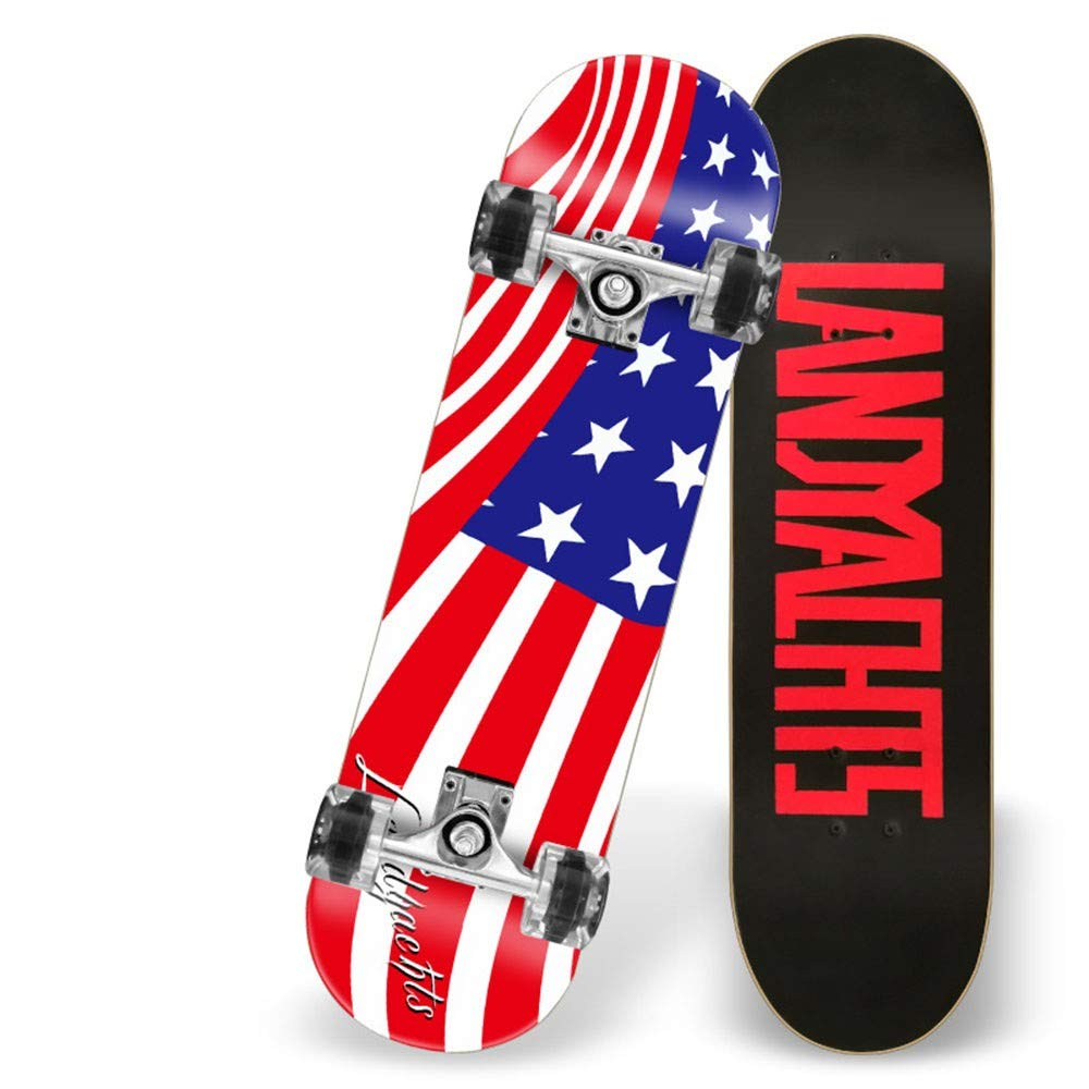 NMDKE SkateboardVier Runde Skateboards Skateboards Skateboards Kinder Erwachsene Allgemein Autobahn Boards Maple Outdoor-Sport, Star Und Gestreifte Flagge B07HQ88S1S Skateboards Gutes Design f3008e