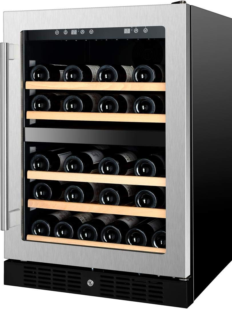 Kucht K148E12 24 Inch Built-In Dual Zone Wine Cooler with 54 Bottle Capacity, in Stainless Steel