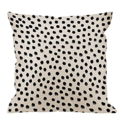 "HGOD DESIGNS Polka Dots Decorative Throw Pillow Cover Case,Brush Strokes Dots Cotton Linen Outdoor Pillow cases Square Standard Cushion Covers For Sofa Couch Bed 18x18 inch Black - Made of durable high quality cotton linen Burlap material,no peculiar smell,comfortable,breathable,durable and stylish. Dimensions: 18"" x 18"" inch (1-2cm deviation).Please ensure your pillow is suitable for this size.it is easy to install. This Polka Dots pillow cover pattern is print on the both side.it will decorate your house well,Brings Luxury Look To Your Home Decorative, Living Rooms, Sofa, Couch, Chair, Bedrooms, Offices - patio, outdoor-throw-pillows, outdoor-decor - 61gltwugFnL. SS400  -"