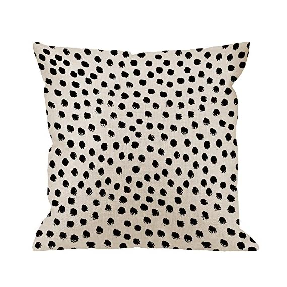 """HGOD DESIGNS Polka Dots Decorative Throw Pillow Cover Case,Brush Strokes Dots Cotton Linen Outdoor Pillow Cases Square Standard Cushion Covers for Sofa Couch Bed 18x18 inch Black - Made of durable high quality cotton linen Burlap material,no peculiar smell,comfortable,breathable,durable and stylish. Dimensions: 18"""" x 18"""" inch (1-2cm deviation).Please ensure your pillow is suitable for this size.it is easy to install. This Polka Dots pillow cover pattern is print on the both side.it will decorate your house well,Brings Luxury Look To Your Home Decorative, Living Rooms, Sofa, Couch, Chair, Bedrooms, Offices - patio, outdoor-throw-pillows, outdoor-decor - 61gltwugFnL. SS570  -"""