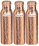 1000ml / 33.81oz - Set of 3 - Prisha India Craft - Hammered Copper Water Bottle | Joint Free, Best Quality Water Bottle - Handmade Christmas Gift