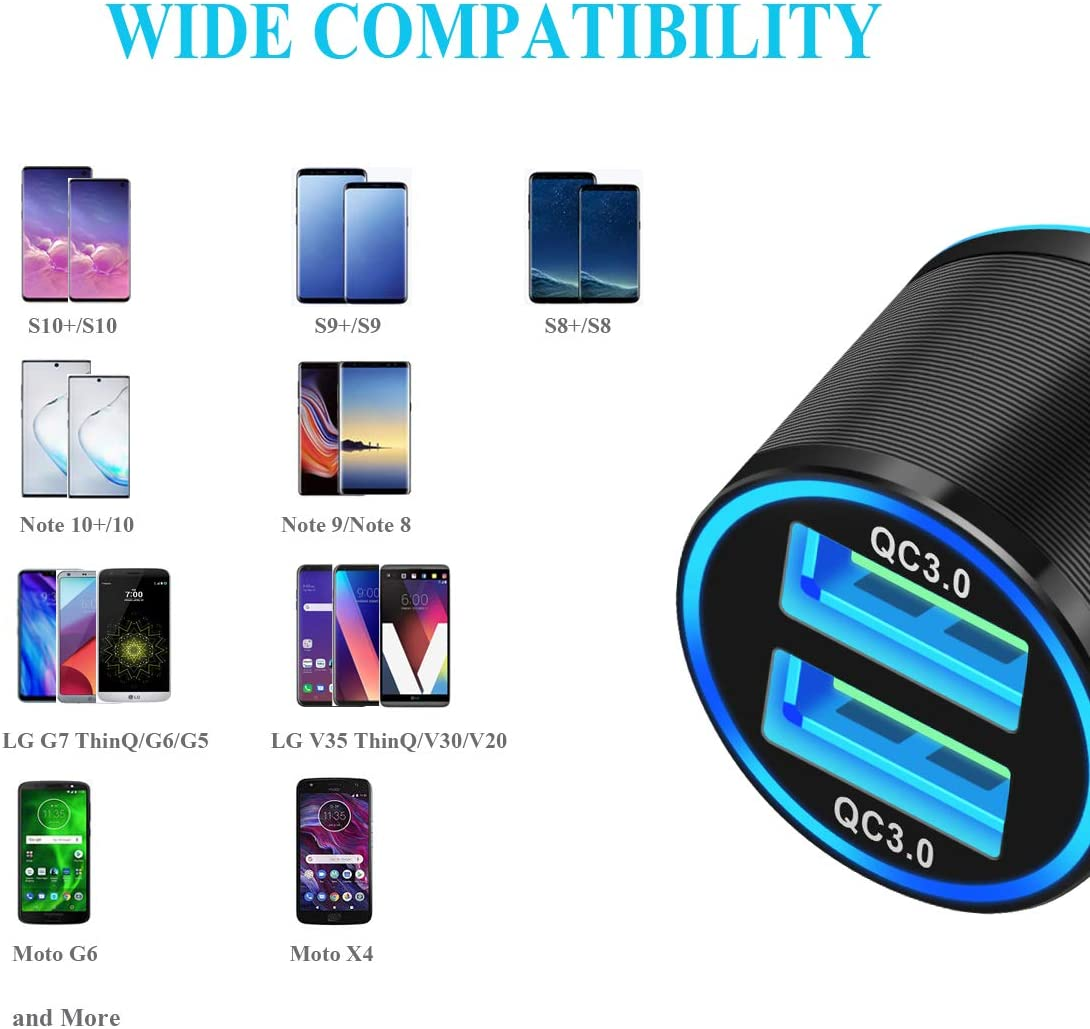 Usb C Fast Car Charger for Samsung Galaxy S20 Plus// S20//S10 Plus//S10//S10e//S9 Plus//S9//S8+//S8//Note 10 Plus//10//9//8 Car Charger Fast Charging Quick Charge 3.0 Dual Ports 36W with Rapid Type C Cable 3.3ft