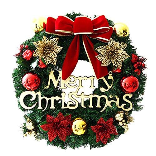 Merry Christmas Wreath Front Door Garland Christmas Room Wall Decoration RED Poinsettia Pine Wreath-Diameter:30cm